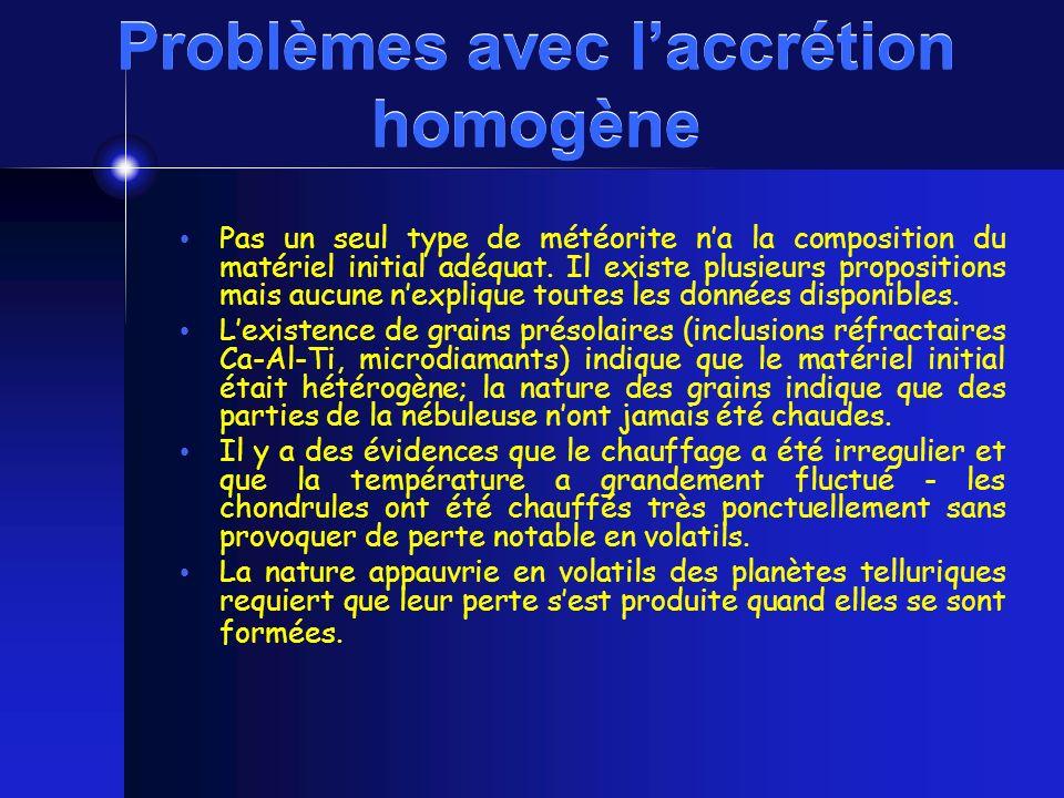 Problèmes avec l'accrétion homogène