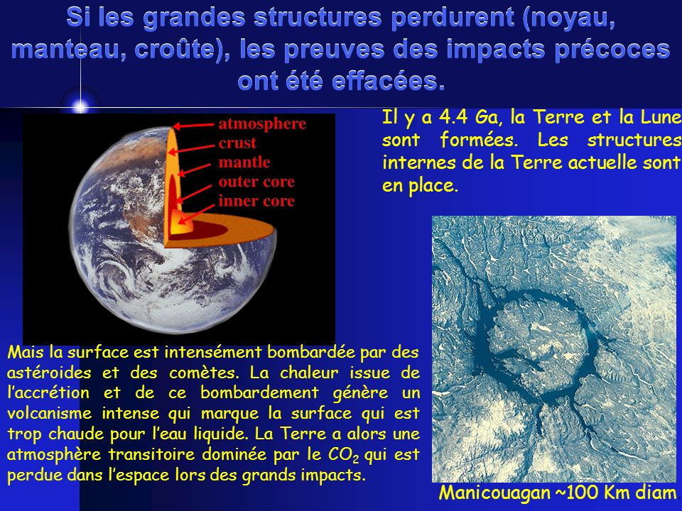 Si les grandes structures perdurent (noyau, manteau, croûte), les preuves des impacts précoces ont été effacées.