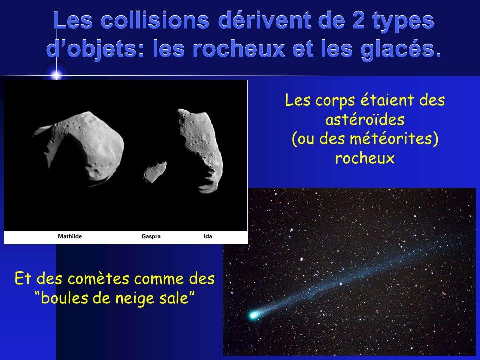 Les collisions dérivent de 2 types d'objets: les rocheux et les glacés.