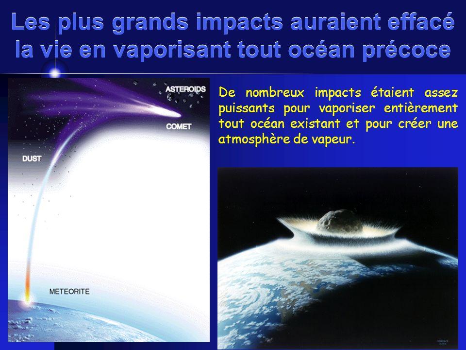 Les plus grands impacts auraient effacé la vie en vaporisant tout océan précoce