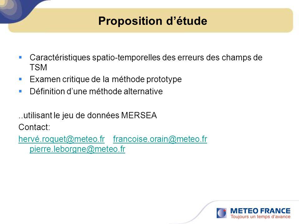 Proposition d'étude Caractéristiques spatio-temporelles des erreurs des champs de TSM. Examen critique de la méthode prototype.