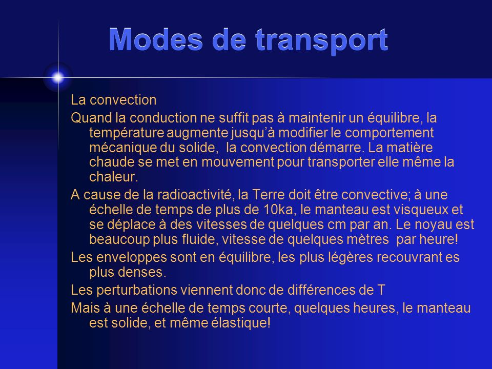 Modes de transport La convection