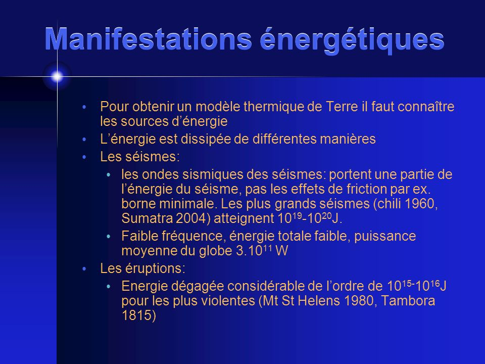 Manifestations énergétiques