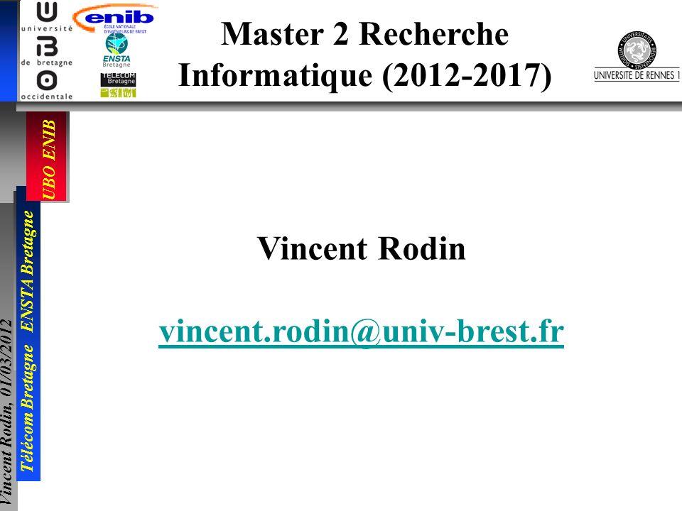 Master 2 Recherche Informatique (2012-2017) Vincent Rodin vincent.rodin@univ-brest.fr