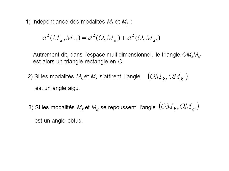 1) Indépendance des modalités Mk et Mk :