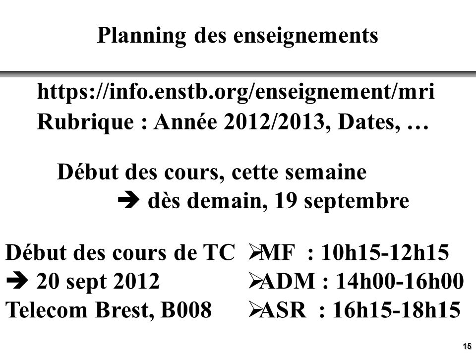 Planning des enseignements