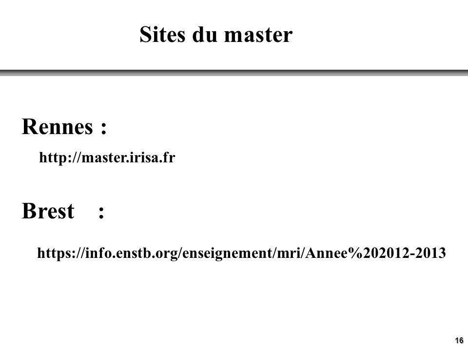 Sites du master Rennes : http://master.irisa.fr Brest :