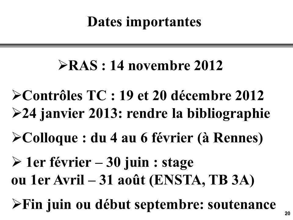 Contrôles TC : 19 et 20 décembre 2012