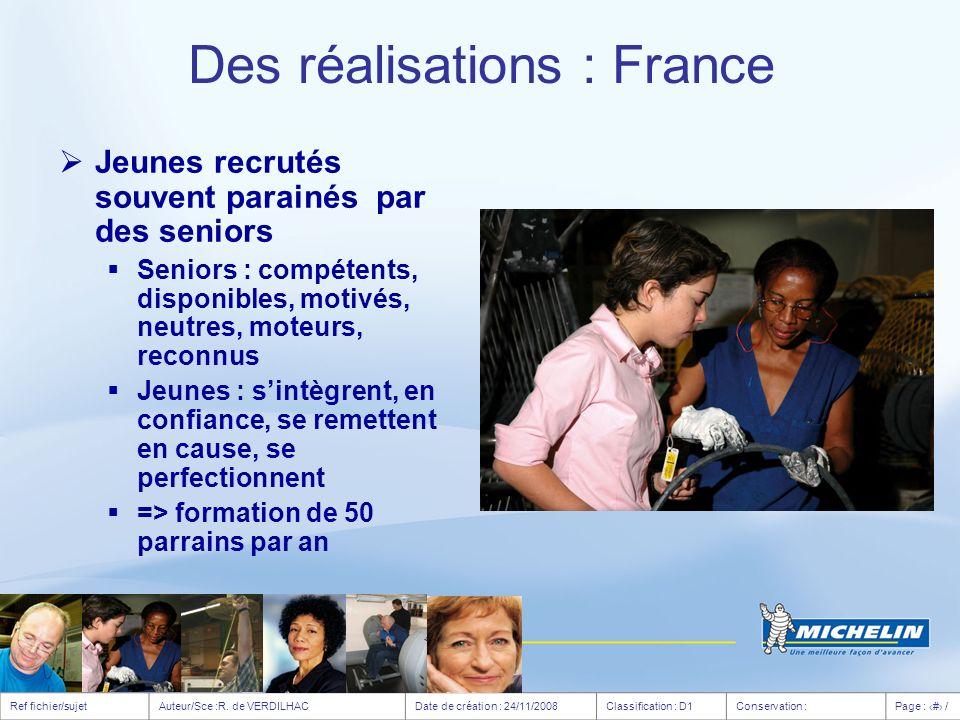 Des réalisations : France