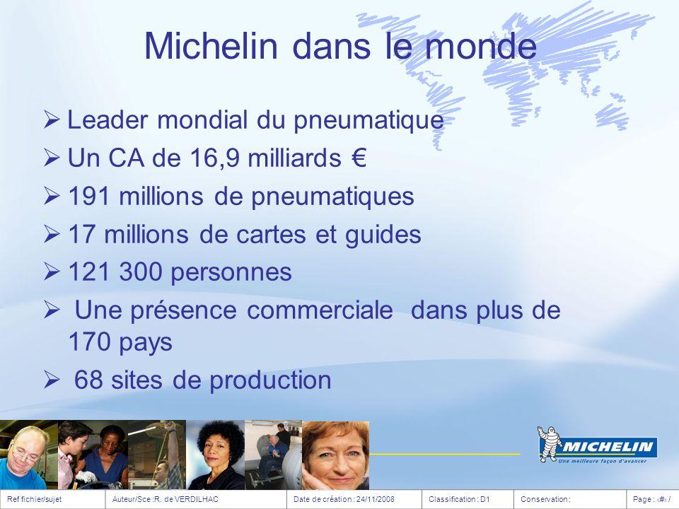 Michelin dans le monde Leader mondial du pneumatique