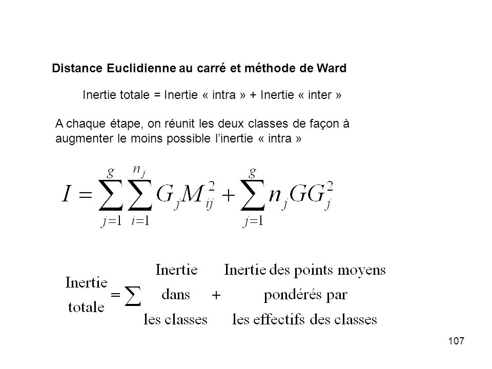 Distance Euclidienne au carré et méthode de Ward