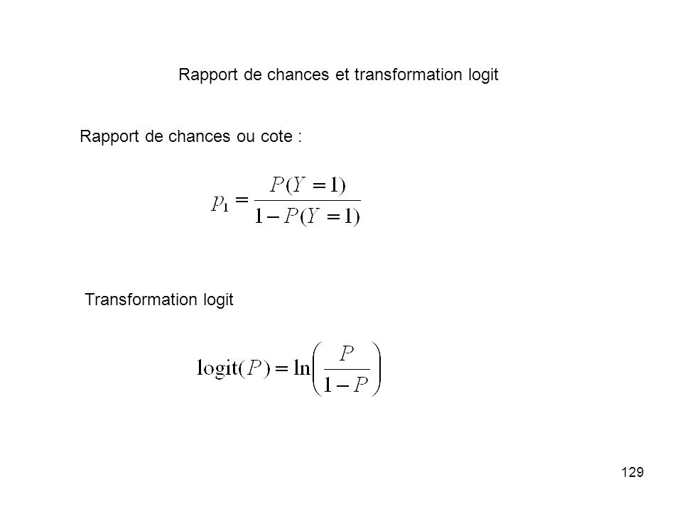 Rapport de chances et transformation logit