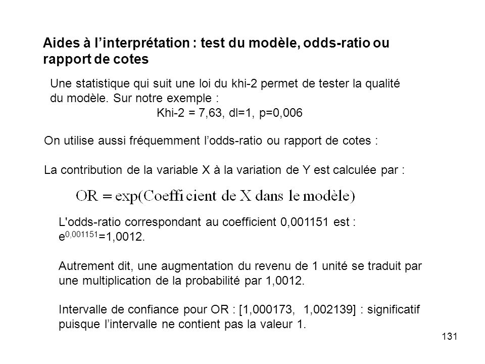Aides à l'interprétation : test du modèle, odds-ratio ou rapport de cotes
