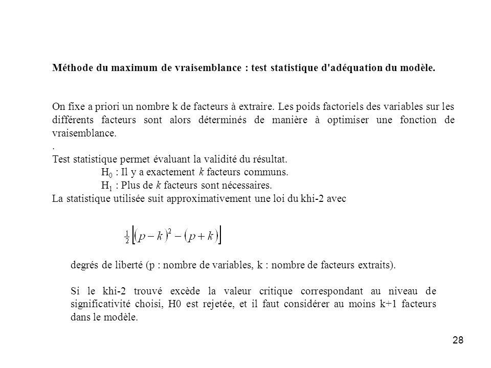 Méthode du maximum de vraisemblance : test statistique d adéquation du modèle.