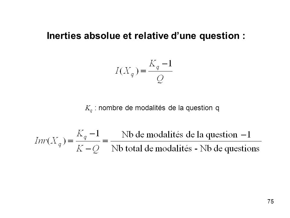 Inerties absolue et relative d'une question :