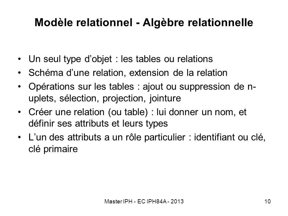 Modèle relationnel - Algèbre relationnelle