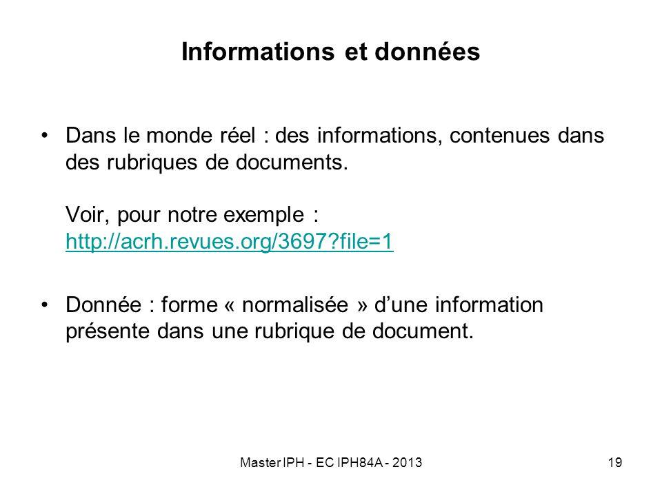 Informations et données