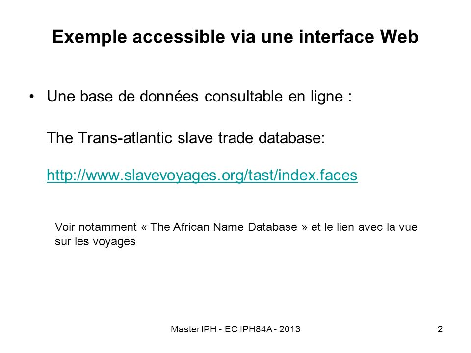 Exemple accessible via une interface Web