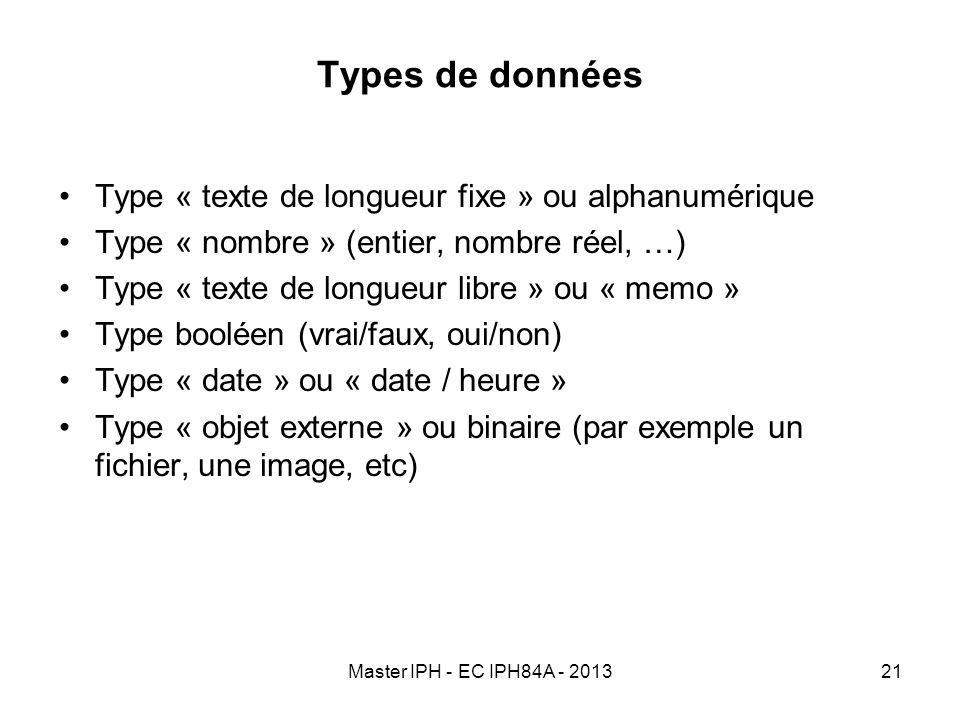 Types de données Type « texte de longueur fixe » ou alphanumérique