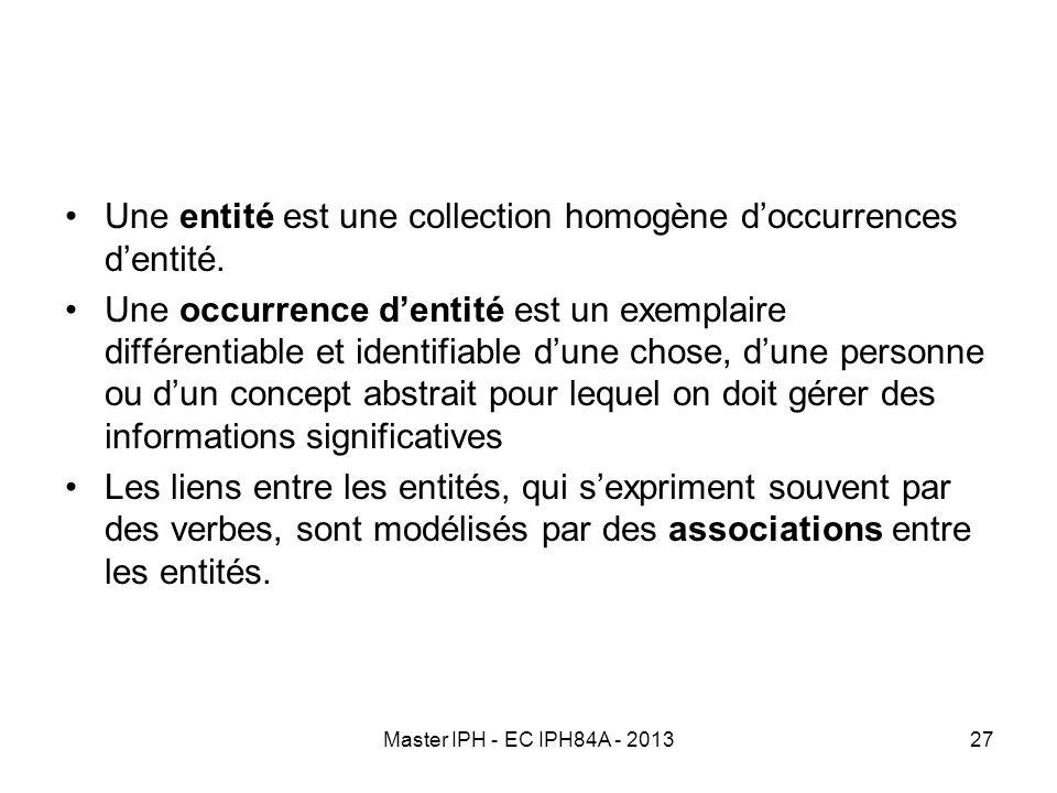 Une entité est une collection homogène d'occurrences d'entité.