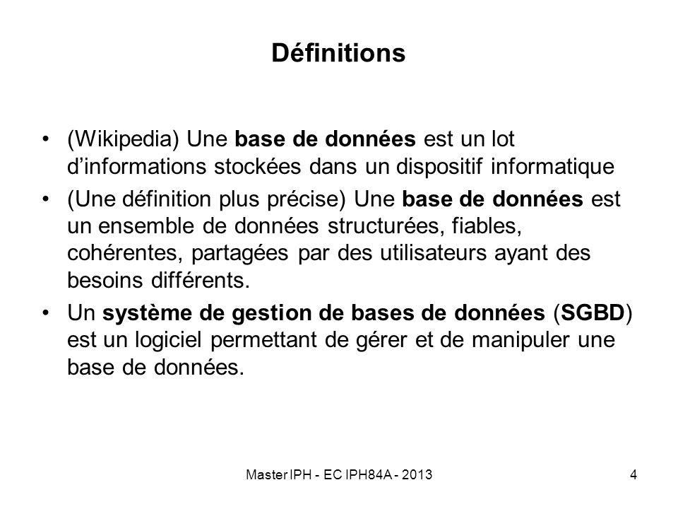 Définitions (Wikipedia) Une base de données est un lot d'informations stockées dans un dispositif informatique.