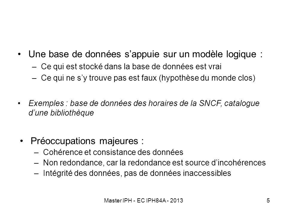 Une base de données s'appuie sur un modèle logique :