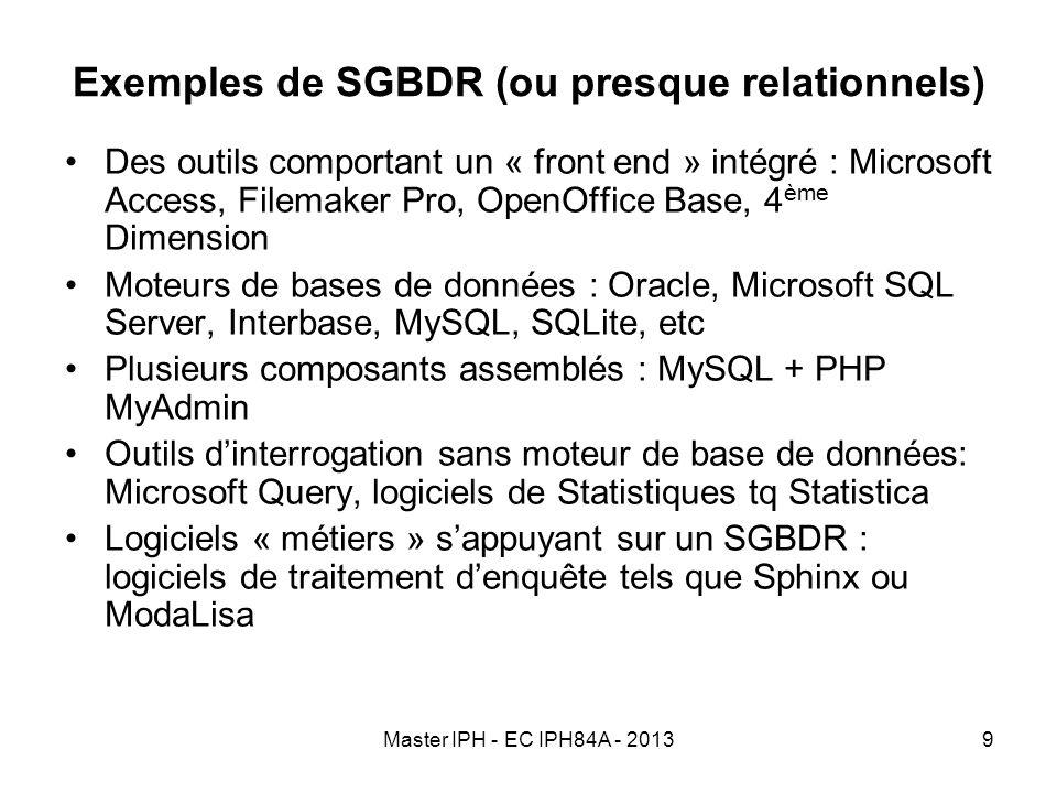 Exemples de SGBDR (ou presque relationnels)
