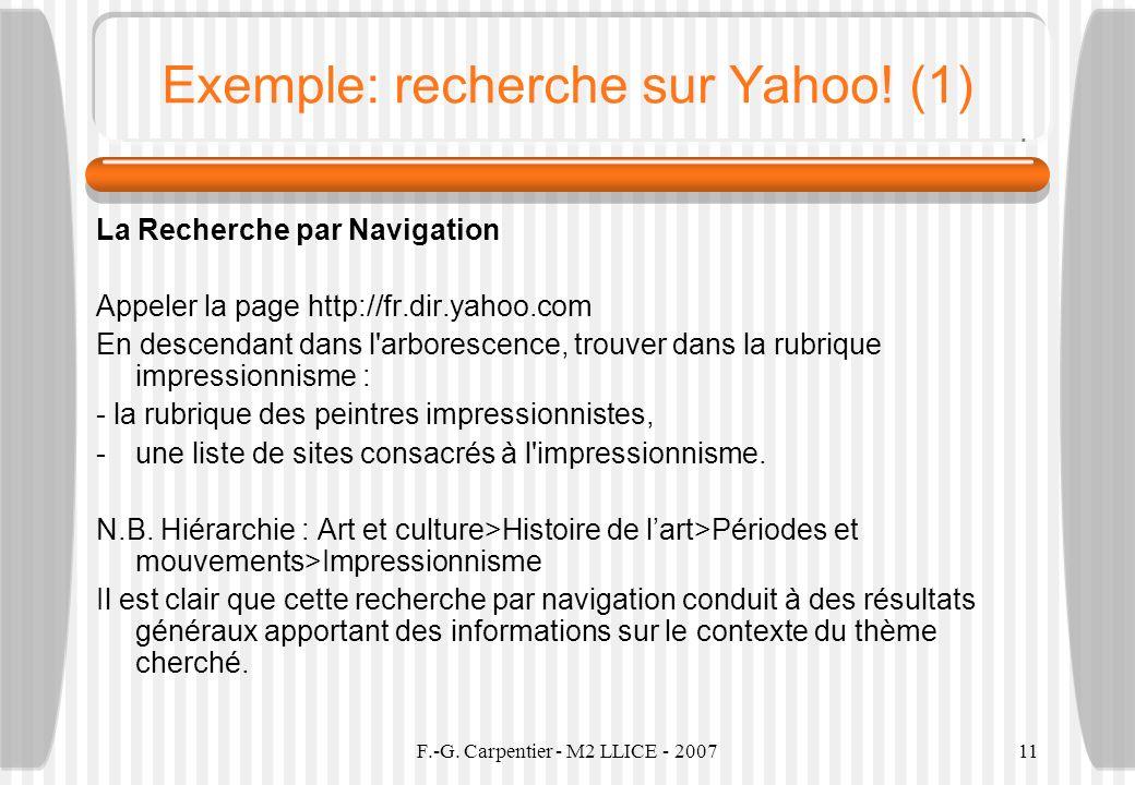 Exemple: recherche sur Yahoo! (1)