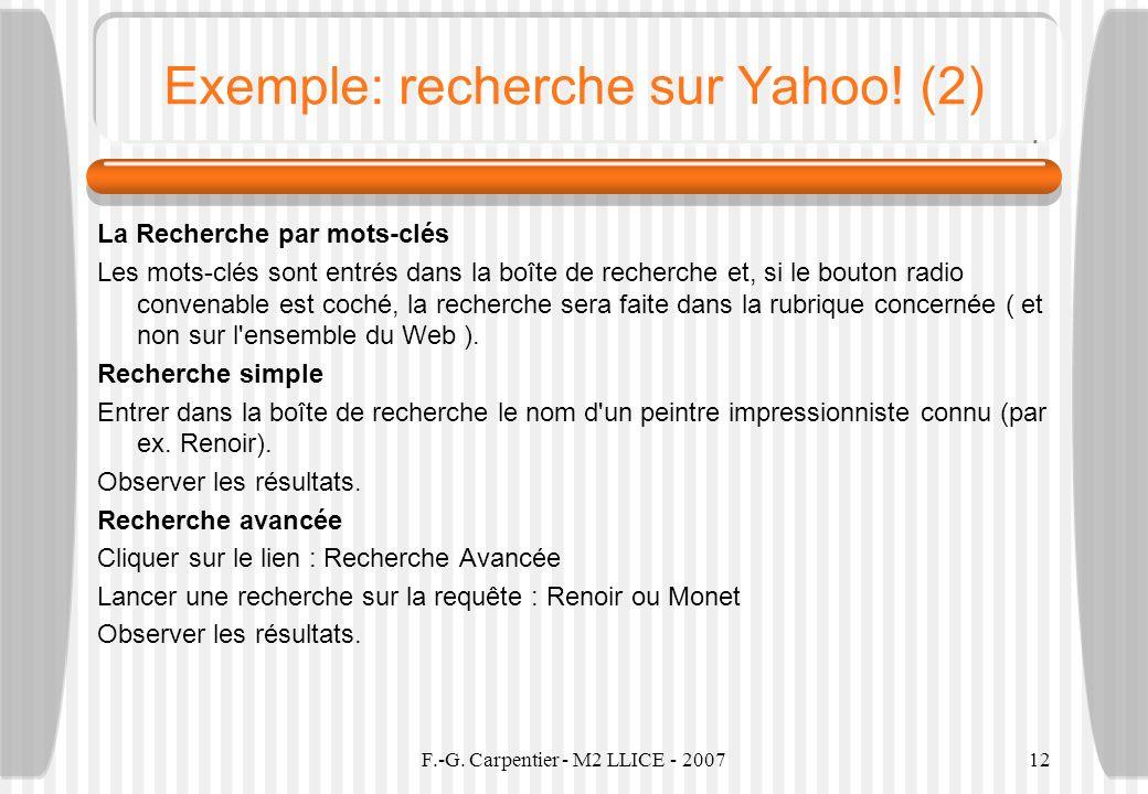 Exemple: recherche sur Yahoo! (2)