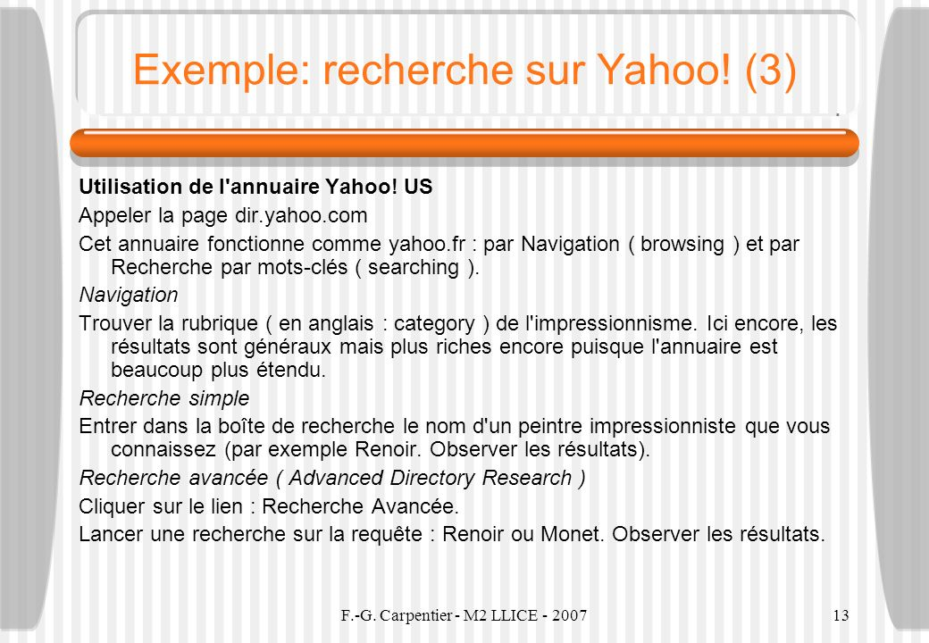 Exemple: recherche sur Yahoo! (3)