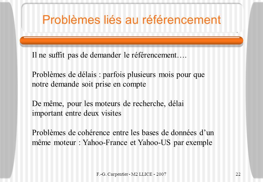 Problèmes liés au référencement