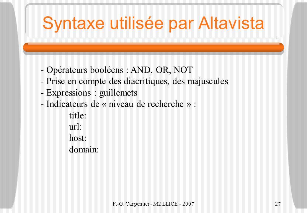 Syntaxe utilisée par Altavista