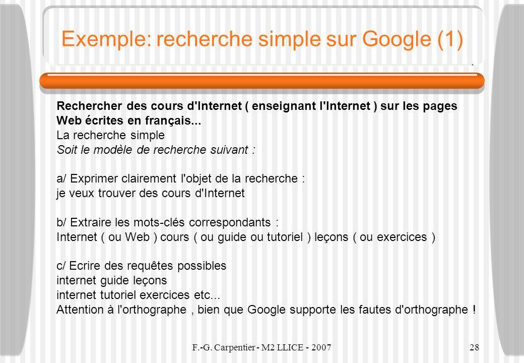 Exemple: recherche simple sur Google (1)