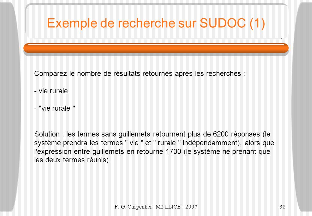 Exemple de recherche sur SUDOC (1)