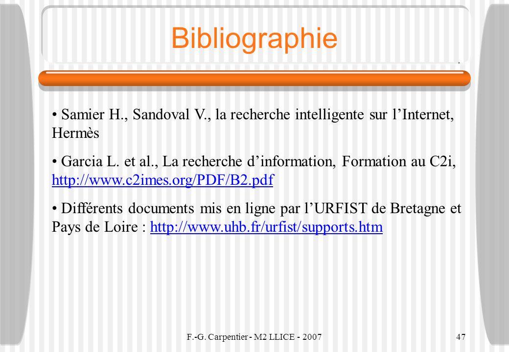 F.-G. Carpentier - M2 LLICE - 2007