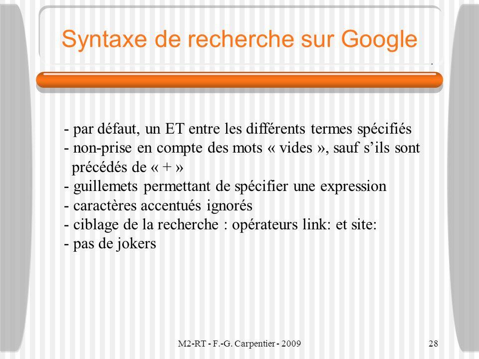 Syntaxe de recherche sur Google