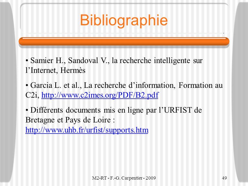 Bibliographie Samier H., Sandoval V., la recherche intelligente sur l'Internet, Hermès.