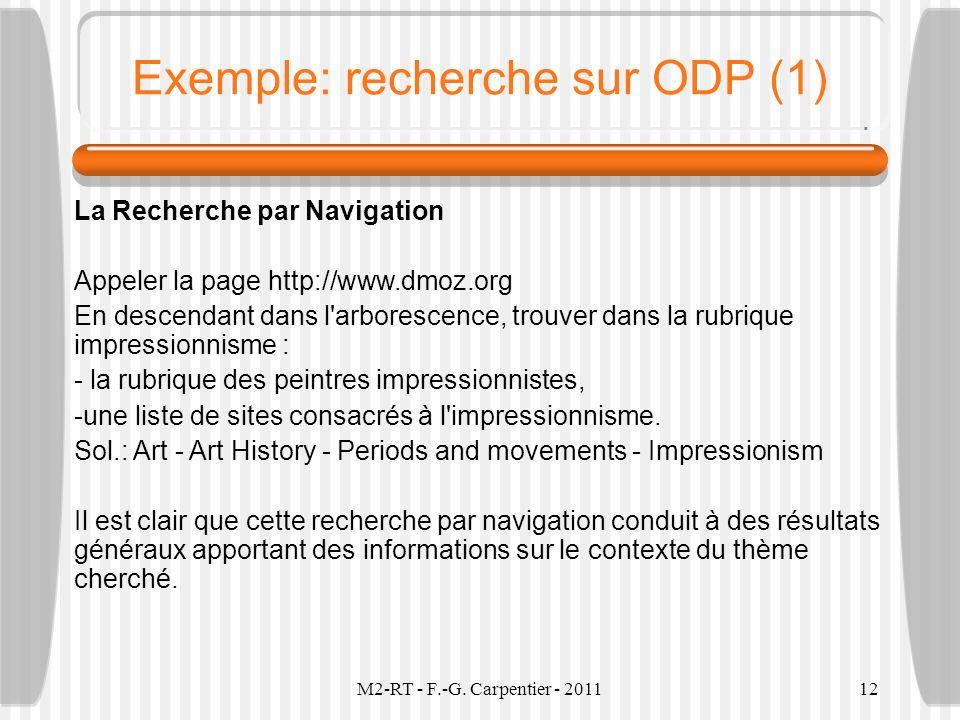 Exemple: recherche sur ODP (1)