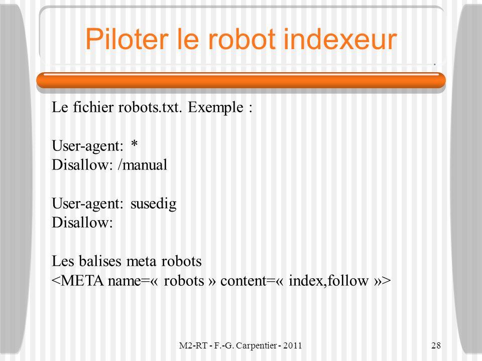 Piloter le robot indexeur