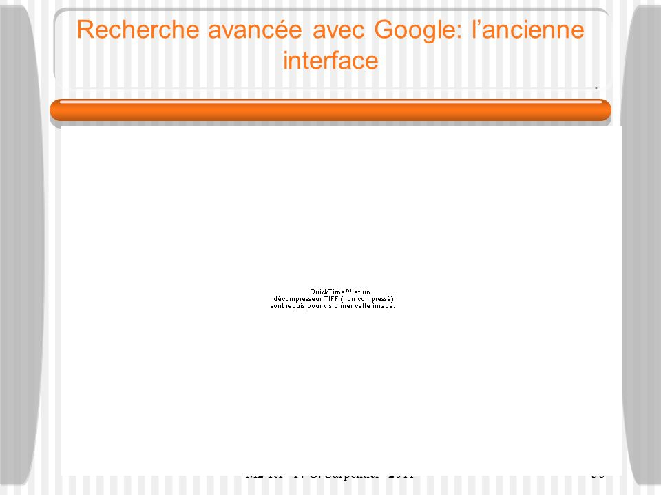Recherche avancée avec Google: l'ancienne interface