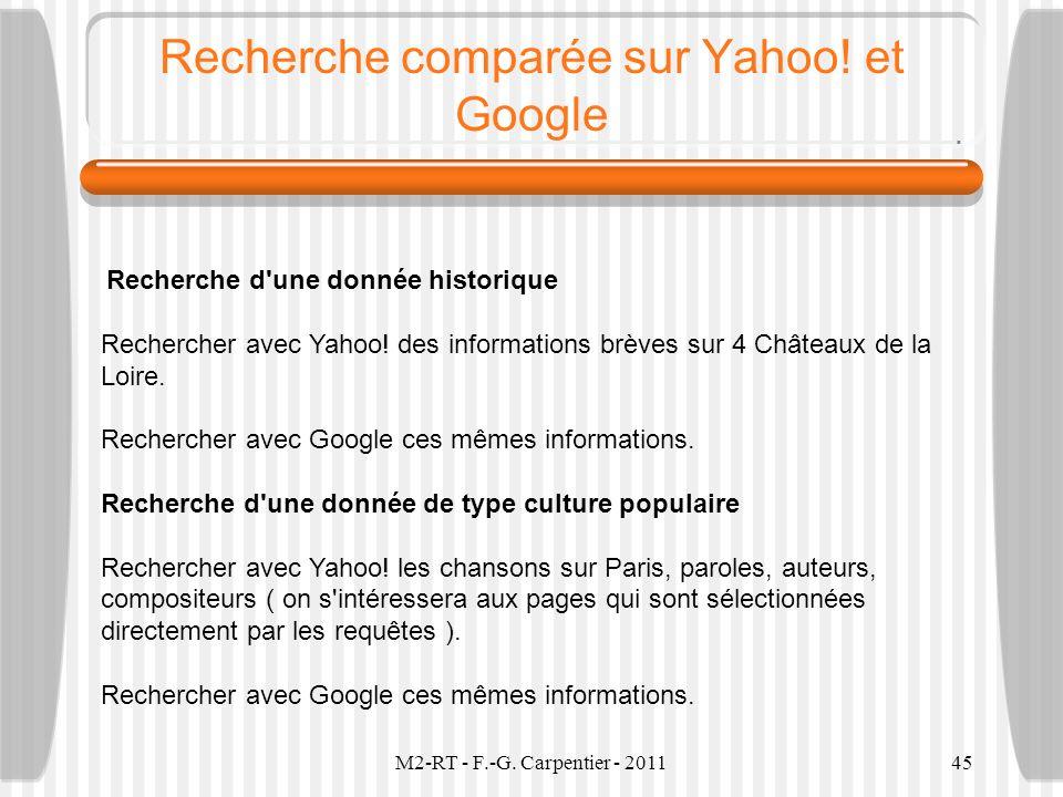 Recherche comparée sur Yahoo! et Google