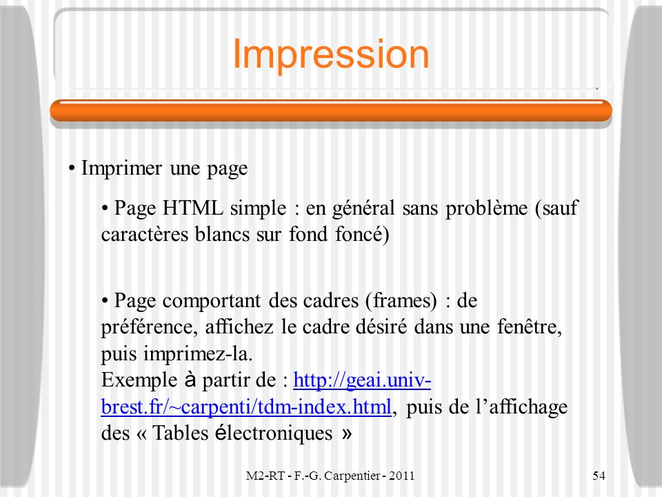Impression Imprimer une page