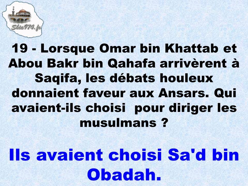 Ils avaient choisi Sa d bin Obadah.