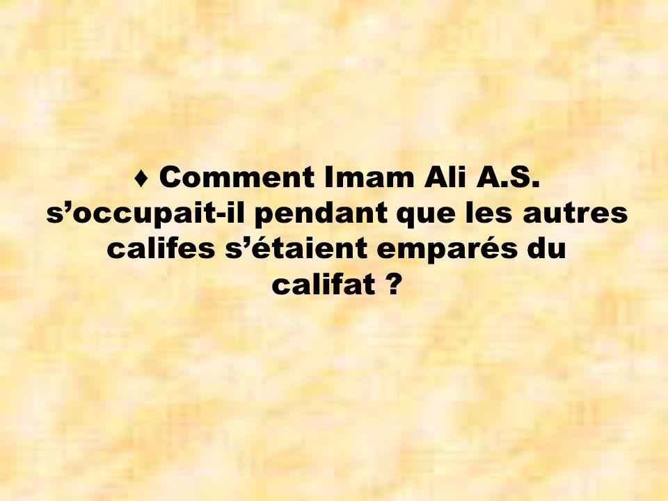 ♦ Comment Imam Ali A.S. s'occupait-il pendant que les autres califes s'étaient emparés du califat