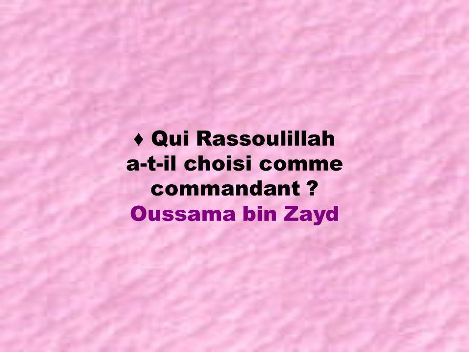 ♦ Qui Rassoulillah a-t-il choisi comme commandant