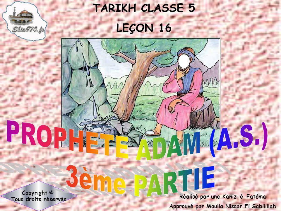 PROPHETE ADAM (A.S.) 3ème PARTIE
