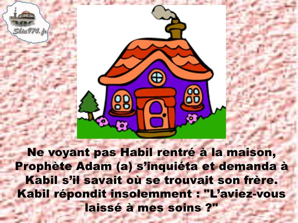 Ne voyant pas Habil rentré à la maison, Prophète Adam (a) s'inquiéta et demanda à Kabil s'il savait où se trouvait son frère.