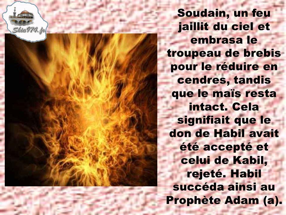 Soudain, un feu jaillit du ciel et embrasa le troupeau de brebis pour le réduire en cendres, tandis que le maïs resta intact.