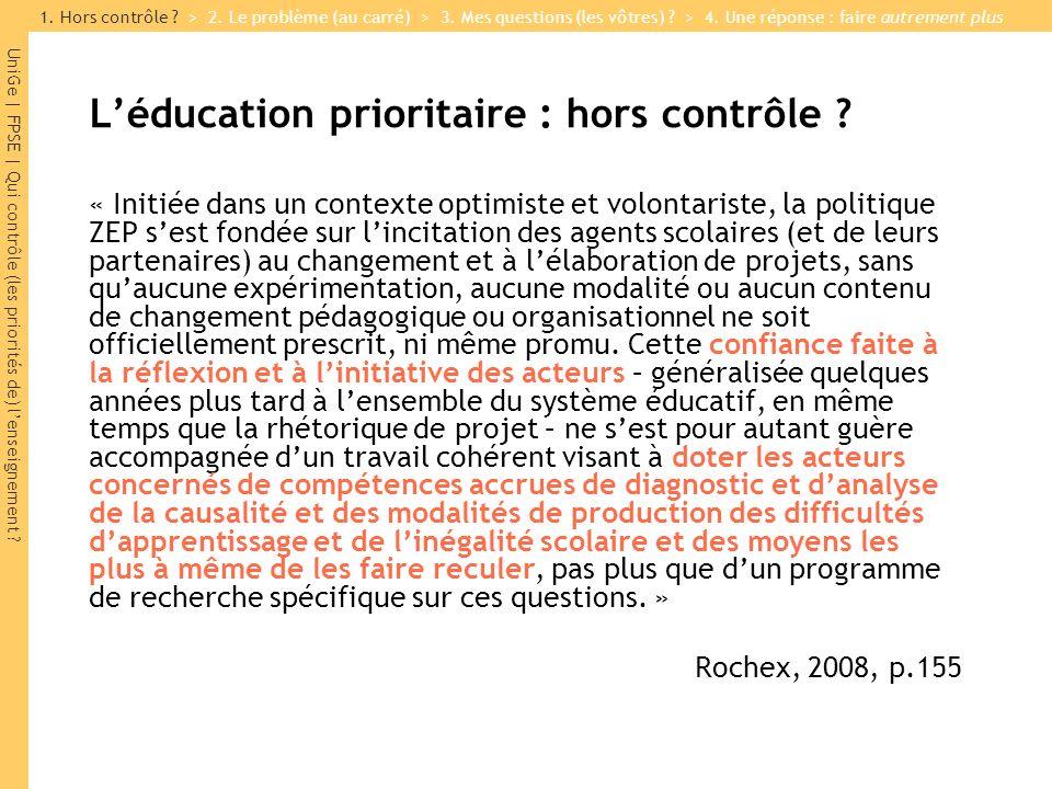 L'éducation prioritaire : hors contrôle