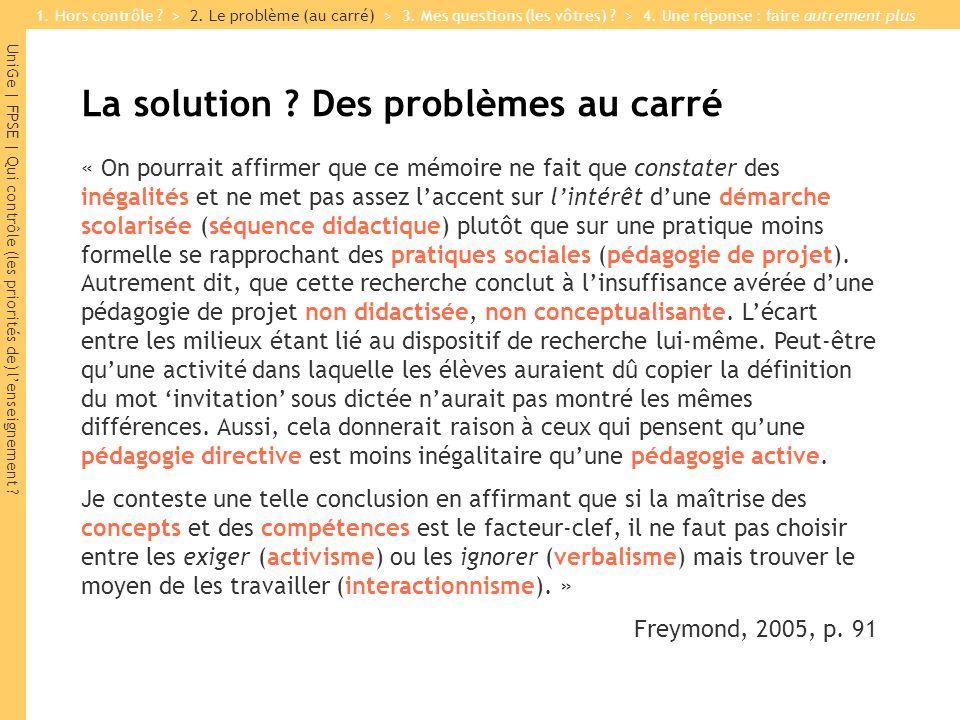 La solution Des problèmes au carré